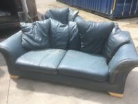 Free leather sofa an 2 chairs blue