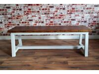 Reclaimed Pine Rustic Farmhouse Kitchen Dining Stile Bench