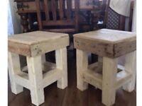 Reclaimed Wood Handmade Small Stools