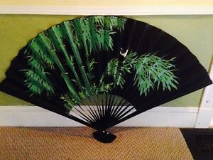 Large Large Hand Painted Chinese Lacquered Wooden Fans, $25 each
