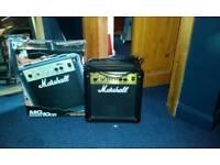 Marshall guitar amplifier and Yamaha Pacifica guitar