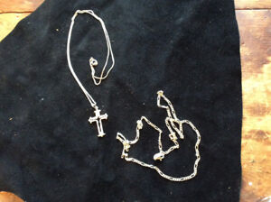 """(2) WOMENS STERLING SILVER NECKLACES 19"""" and 21"""""""