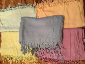 Lot of 5 very large pastel colour scarf/wrap/headband