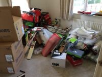 Various items of cricket equipment for sale