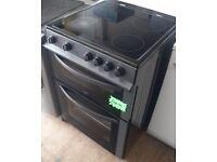 Black Logik 60cm Electric cooker fan oven, Grill, Ceramic Hob