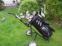 MACGREGOR GOLF CLUBS IN BAG WITH TROLLEY MENS RIGHT HAND