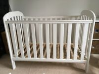 White Wooden East Coast Anna Drop Side Cot