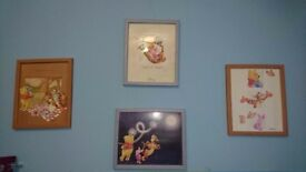 Set of 4 pictures - Winnie the Pooh - great condition