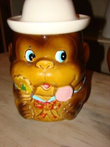 Vintage Monkey Cookie jar 10 inches tall