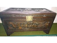 Hand carved camphor chest, made in people's republic of China