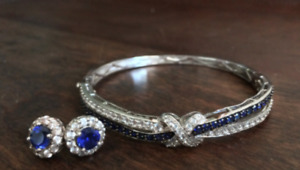 Stunning Sapphire Bangle and Earring Set