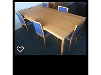 Ikea Birch Meeting room table and 5 chairs