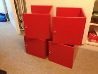Ikea (Expedit Kallax storage unit) 4 red wooden inserts with doors