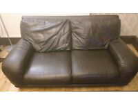 Genuine real brown leather 2 seater sofa settee