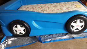 Blue Race Car Bed Single Mattress Included