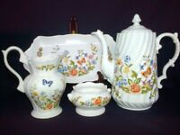 Vintage Aynsley 'Cottage Garden' Made in England, teapot, bowl, tray, vases. Excellent condition