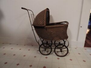 Vintage Wicker Toy Pram or Stroller