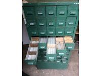 Large Vintage Industrial Pigeon Filing Cabinet