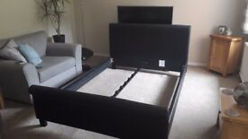 Faux Leather Black Double Bed Frame