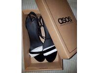 BRAND NEW BOXED ASOS Patent UK 6 Sandals / kitten Heeled Sandals