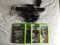 X Box Kinect & game bundle, grand theft auto 5, FIFA 13, black ops 3