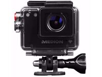 Brand NEW MEDION S47124 FULL HD WIFI Action Camera & Accessories - Smartphone app - Like Go Pro etc