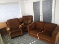Parker knoll gold draylon two seater sofa and two manual recliner chairs