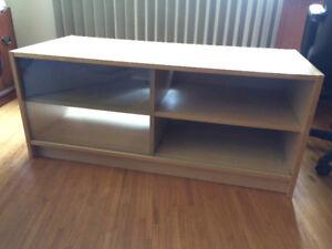 Solid Birch, Sliding Glass TV Stand