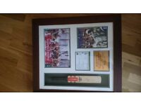 Ashes 2005 signed ( by Andrew Strauss) and framed bat presentation