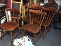 Reduced Set of 4 oak dining chairs