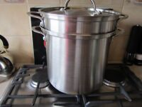 PRO CHEF3000 LARG STAINLESS STEEL PAN WITH CULLENDER AND STEAMER