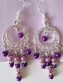 [Handmade] Purple Pink Drop Earrings