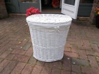 Two White Wicker Laundry Baskets