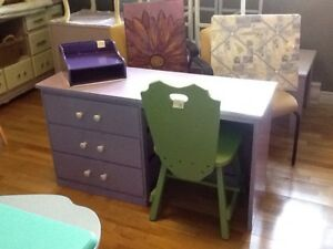 Purple desk with green chairs -1 available