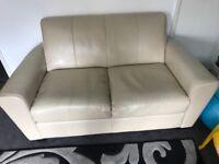 Cream leather sofa 3 seater 2 seater