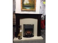 Solid wooden fire surround, marble back and hearth.