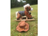 Rocking Horse with hat & grooming brush, age 12months +