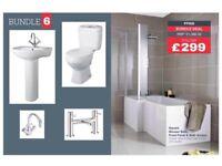 L shape Shower Bath Bathroom Suite by Premier