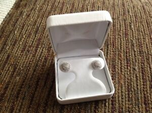 Sterling silver stud earrings with BLING