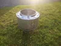 Up-cycled washing machine drum could be used for BBQ, Fire-pit, Planter, Outdoor-heater, 360-burner