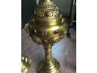 Vintage Brass Lamp Ornamental Set of 2 inlaid with stonework, handmade