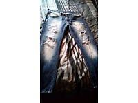 Blood Glitter man's BGM 001 straight jeans Size: 34 S