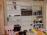 3 white ikea billy bookcases