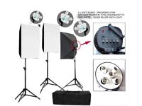 Like New Photo Studio Continuous Lighting Kit - 3 x 5 Head Softboxes with stands, 15x38W =570W