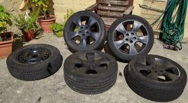 17 Inch Original ZENDER Vauxhall Rims 5x110 stud diamtr. Black/Plasti Dipped + 15 inch spare