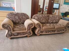 Large brown fabric patterned 2 seater and armchair set