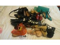 ASSORTED LADIES SHOES/BLACK LEATHER BOOTS £30 THE LOT