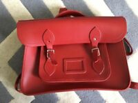 Red leather backpack from the Cambridge satchel company