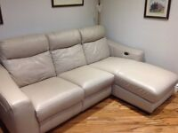 Lovely cream leather recliner chaise sofa