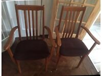 Wooden armchairs x2